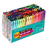 Feela 360 Colors Gel Pens Set 180 Unique Gel Pen Plus 180 Refills...