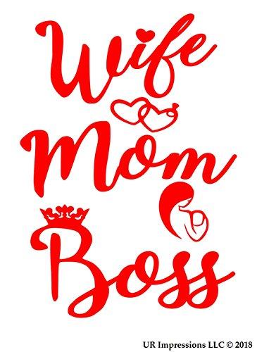 UR Impressions Red Wife-Mom-Boss Decal Vinyl Sticker Graphics for Cars Trucks SUV Vans Walls Windows Laptop|RED|5.5 X 4.4 Inch|URI307-R