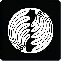 家紋 捺印マット 入れ違い割り棕櫚紋 11cm x 11cm KN11-2532W 白紋