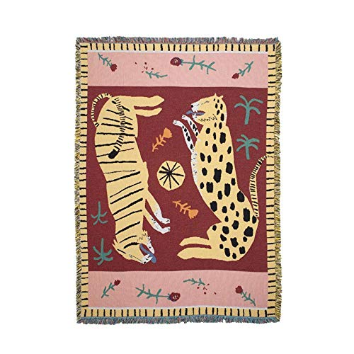 Chicya - Alfombra para sofá, diseño de pantera, color rosa, 150 x 210 cm