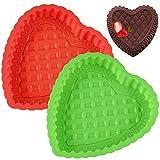 Molde Silicona Forma Corazón - WENTS 2PCS Molde de silicona ideal para preparar magdalenas, chocolate, cubitos de hielo, galletas, mantequilla, gelatinas, jabones artesanales