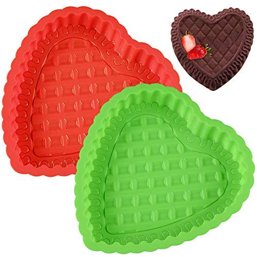 Silikon-Herzform - WENTS 2 Stück Silikon-Herzbackform Backformen Kuchenform flexible Silikonbackform Backen Gebäck Schokolade Gelee Mousse Brot herzhafte Kuchenform(Rot/Grün)