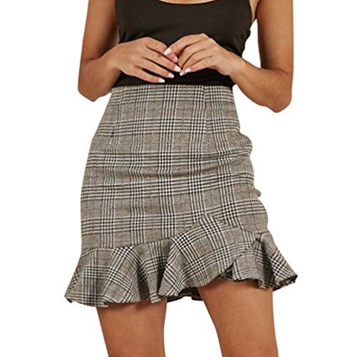WanYangg Mujer Wrap Cuadros De Impresión Cintura Alta Volantes Irregular Falda Cortas De Moda Faldas Mini Gris M