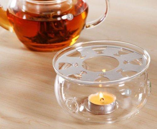 DecentGadget Teas Glass Teapot Warmer Tes Tetera de Vidrio Calentador Tetera Warmer