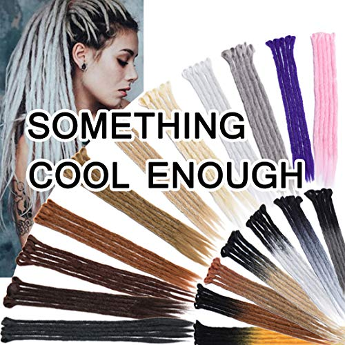 SEGO 20 Inch Dreadlock Extensions for Women/Men Synthetic Handmade Dread Extension Long Single Ended Hippie Style Reggae Hair #Light Grey 5 strands