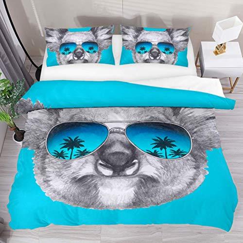 Juego de Cama de Microfibra Lavada de 3 Piezas, Koala con Gafas de Sol de Espejo, Funda nórdica Suave y Transpirable con Cierre de Cremallera