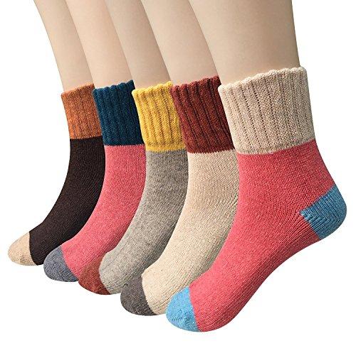 Ndier calcetines de lana de las mujeres coloridos calientes Set Blend calcetines de calcetines de tobillo de arranque asidero de tamaño libre - 5 pares