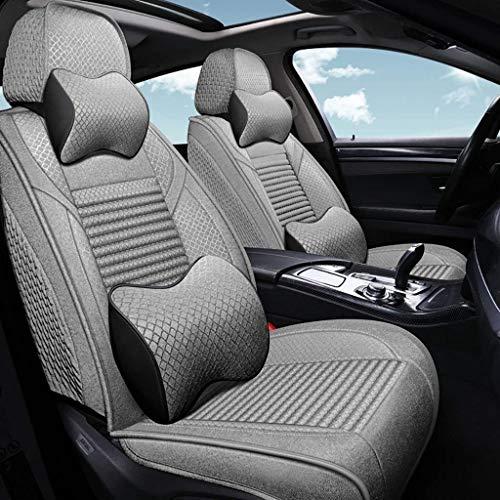 KBZW Luxe autostoelbekleding, complete set, universeel, linnen, kinderwagen, stoelbekleding, beschermhoes voor voorstoelen en achterbank, beschermt de hoezen met hoofdsteunen en lendenwervelkussen Grijs