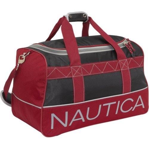 Nautica Luggage Dockside 22 Inch Duffle Bag, Black/Red/Silver, One Size