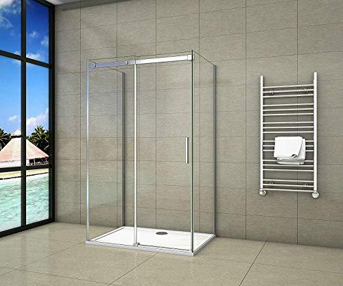 Aica Sanitär U-duschkabine 140 x 90 x 195 cm U-Kabine Dusche 8mm NANO Sicherheitsglas ohne Duschtasse