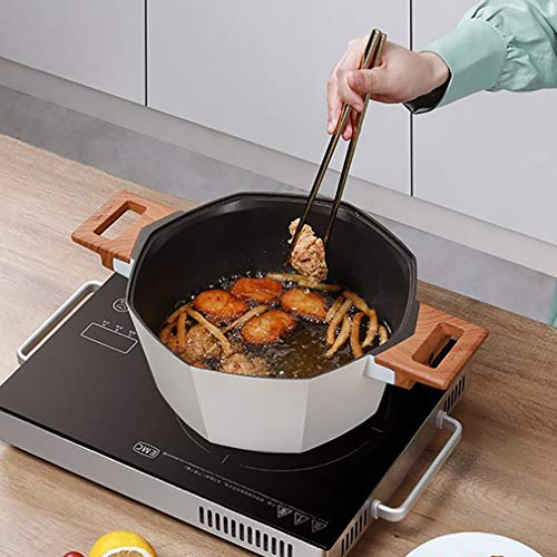 Vaporera Cacerola Pequeña Olla de Cocina Fresca Touch Manija de Salsa Multiusos Pan con Tapa para Cocina casera o Restaurante Olla pequeña (Color : White)