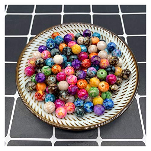 QZX1 - 50 cuentas redondas de 8 mm para hacer joyas, cuentas de acrílico, multicolor, cuentas sueltas, accesorios de bricolaje YC0416 (color: 13, diámetro del artículo: 8 mm, 50 unidades)