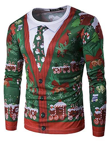 STTLZMC Sweatshirt de Noël Homme Slim Fit Manches Longues Renne Elfe Mode Pull M-XXL,Color 1,M
