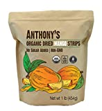 Anthony's Organic Dried Mango Strips, 1 lb, Raw, Gluten Free, Non GMO