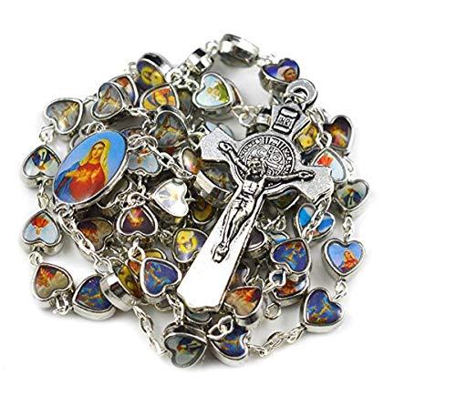 Santos católicos corazón Perlas Rosario Collar de rezo Rosario de Cuentas católicas de Santos