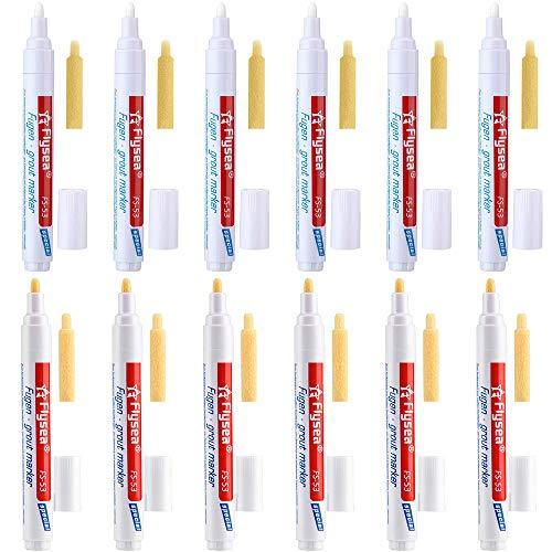 MOPOIN Rotulador Juntas Azulejos Blanco, 12 piezas de bolígrafo para lechada de baldosas con punta de punta de repuesto para Restaurar de Reparación Baldosa Lechada de Azulejos en Baños y Cocinas