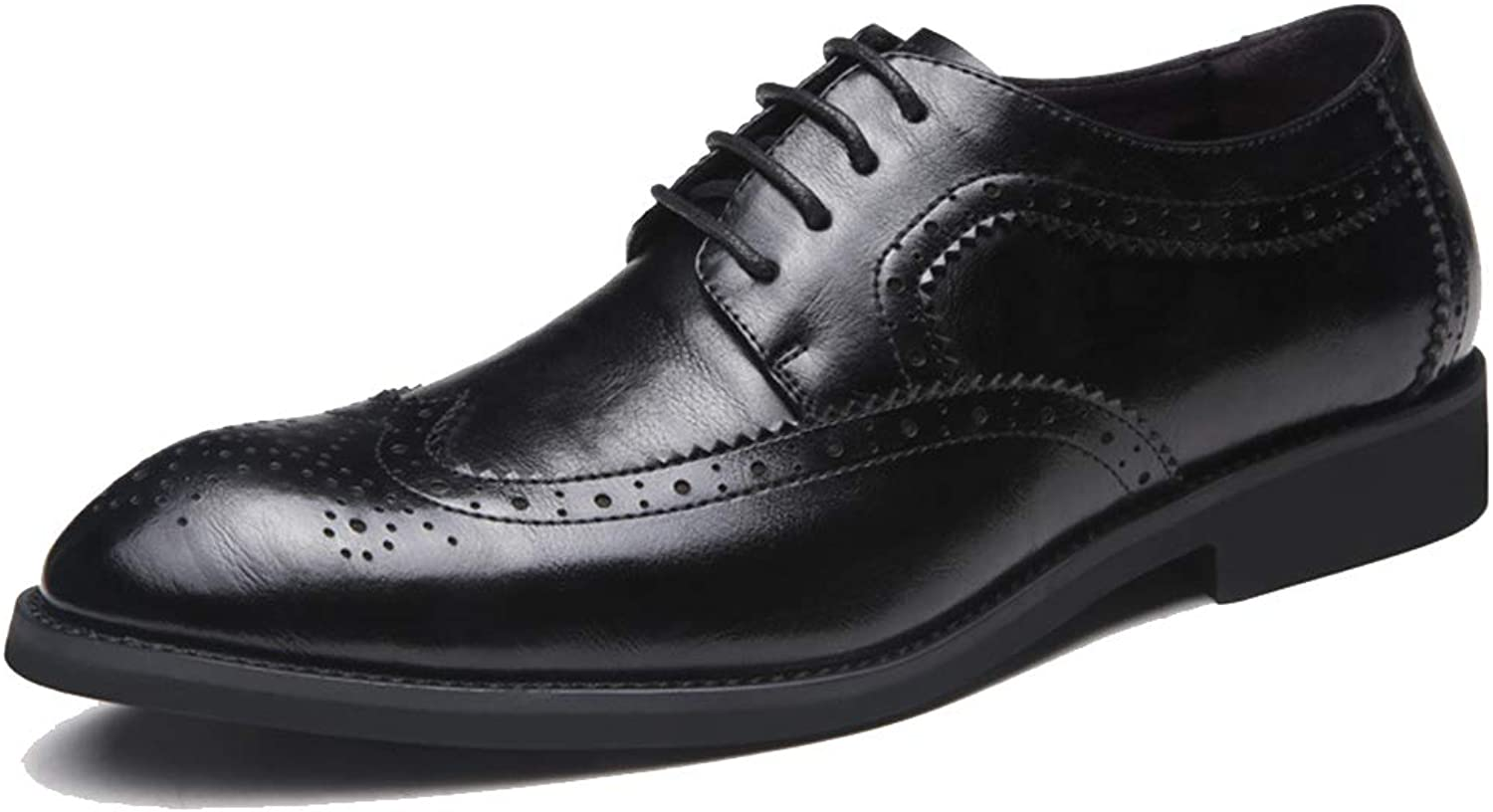 Brogues Lace-Up Dress Leather shoes Men Pointed Toe Brogue Business Classic Footwear Wedding Flat Casual shoes