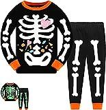 Tkria Kids Pajamas for Boys Skeleton Glow-in-The-Dark Cotton Sleepwear Toddler Clothes Halloween Outfit Size 1-7T (1-2T, Skeleton Candy)