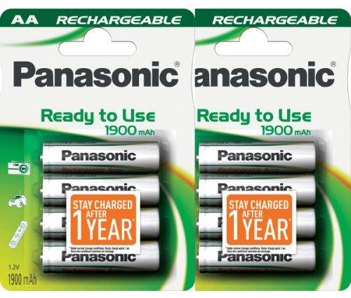 Panasonic 8pcsaa baterías Recargables precargado y Listo para Usar 1900mah nimh