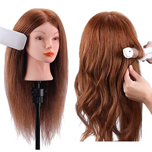 LLEH Cabeza de maniquí con Pelo Humano auténtico 100%, para Aprendizaje de peluquería con Pelo, Pinza para Mesa incluida