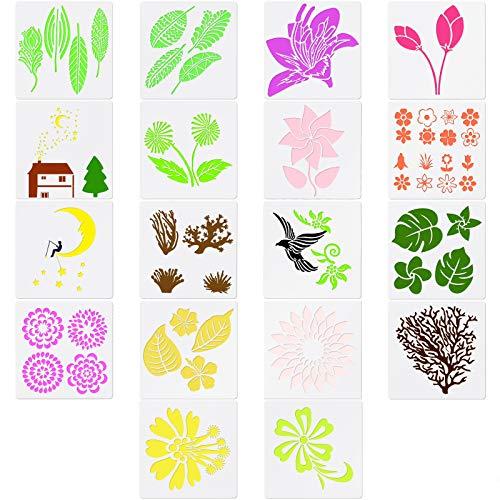 MWOOT 18 Plantillas de Flore para DIY Manualidades, Stencil Template Plástico Hojas, árboles, Pájaros, Patrón Surtido para Pintar Proyectos Arte Bricolaje Madera, Tela, Vidrio y paredes (13CM x 13CM)
