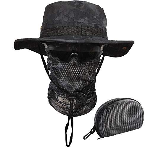 QMFIVE Boonie Bucket Hat Sombreros de ala Ancha para el Sol para Acampar al Aire Libre Pesca Militar Caza Airsoft