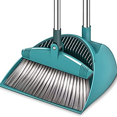 SUPERJARE Broom and Dustpan Set, Upright Grips Sweep Combo, 180° Rotation Broom for Home & Office - Green