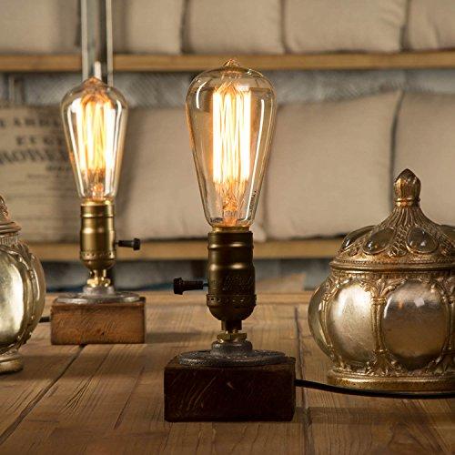 YUENSLIGHTING E27 Vintage Wood Blocks Table Lamp Desk Light for Cafe Bar Studio Night Light for Bedside Dimmable Without Bulb Art