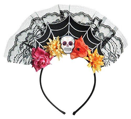 1 x haarband * Day of The Dead * voor Halloween en themafeest // tiara met doodskop en bonte bloemen // diadeem voor het omkleden van diadeem
