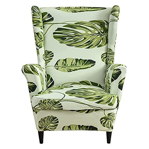 DZYP Ohrensessel Husse Bezug, 2 Stücke Stretch Jacquard Sessel-Überwürfe Sesselbezug Schonbezüge ÜberzugSesselhusse Sofabezug Stuhlbezug Mit Armlehne Möbelschutz (Blatt grün)
