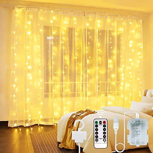 Cortina de Luces 300 LED - USB y Luz de Cadena Alimentada por Batería Luces Decorativas de Hadas Luces Interiores Impermeables con 8 Modos Control Remoto para Boda Fiesta Navidad Interior Exterior