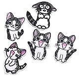 Amoyer 1 Conjunto De Parches Hierro Bordado Applique del Gato De Dibujos Animados sobre Revisiones De para La Decoración Camiseta