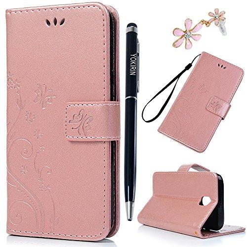 YOKIRIN J5 Pro Lederhülle Wallet Case für Samsung Galaxy J5 2017 PU Leder Handyhülle Flipcase Ständer Case Bookstyle Schutzhülle Tasche Magnetverschluß Karteneinschub Schmetterling Rose Gold