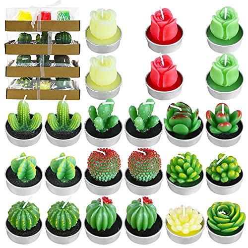 PUDSIRN - Set di candele a forma di cactus, fatte a mano, delicate candele a forma di cactus succulente, per feste, festival, compleanni, matrimoni, decorazioni per la casa (24 pezzi)