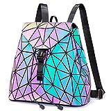 LOVEVOOK Geometrischer Rucksack, Leuchtend Rucksäcke Damen Schultasche Holographic Tasche Daypack...