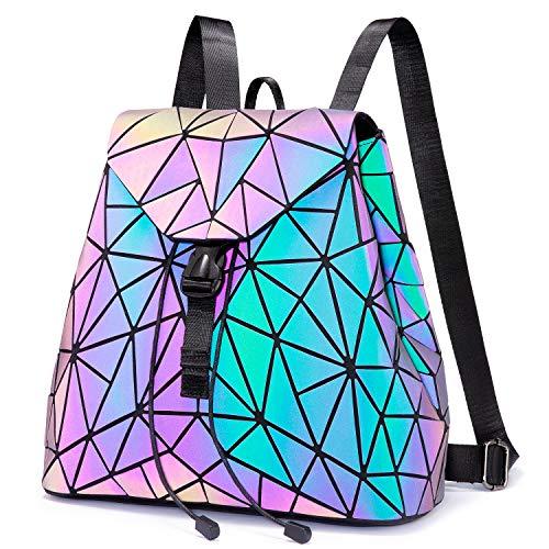 LOVEVOOK Geometrischer Rucksack, Damenrucksäcke Elegant, Leuchtende Schultasche Holographic Tasche, Daypack Tagesrucksack, für Schule College Reise Party