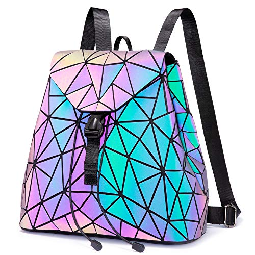 Geometric Backpack Women, LOVEVOOK Women's Daypack, School Bag Luminous Holographic Travel Rucksack Shopper for Work Shopping School