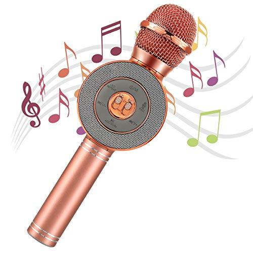 AGPTEK Microfono Karaoke Bambini Bluetooth Wireless 4 in 1 Microfono Party KTV Karaoke Player Portatile per Cantare con Altoparlanti e Luci LED,Registratore,per Android/iOS Smartphone,PC