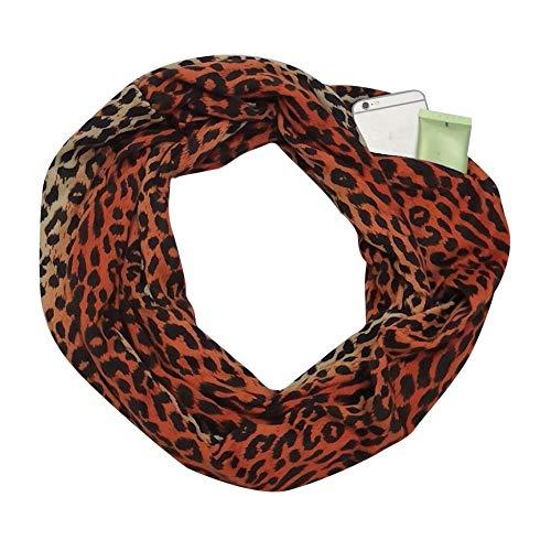 Doublehero Damen Mode Loop Schal Leopardenmuster, Herbst Winter Warme Mode Reißverschluss Secret Hidden Tasche Dünner Schal Ring Loop Schlauchschal Halstuch Leichter Camouflage Sport Casual Schal (B)