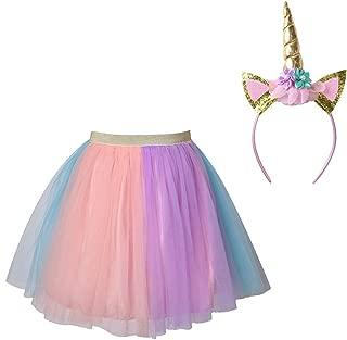 Meeyou Littles' Girls Unicorn Rainbow Tutu Skirt,Birthday Outfit for Girls