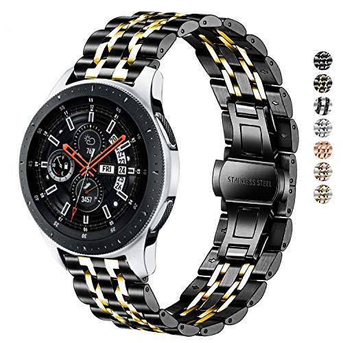 DEALELE Armbänd Kompatibel für Samsung Gear S3 Frontier/Classic, 22mm Edelstahl Metall Ersatz Armband für Galaxy Watch 46mm / Huawei GT Smartwatch Damen Herren, Schwarz/Gold