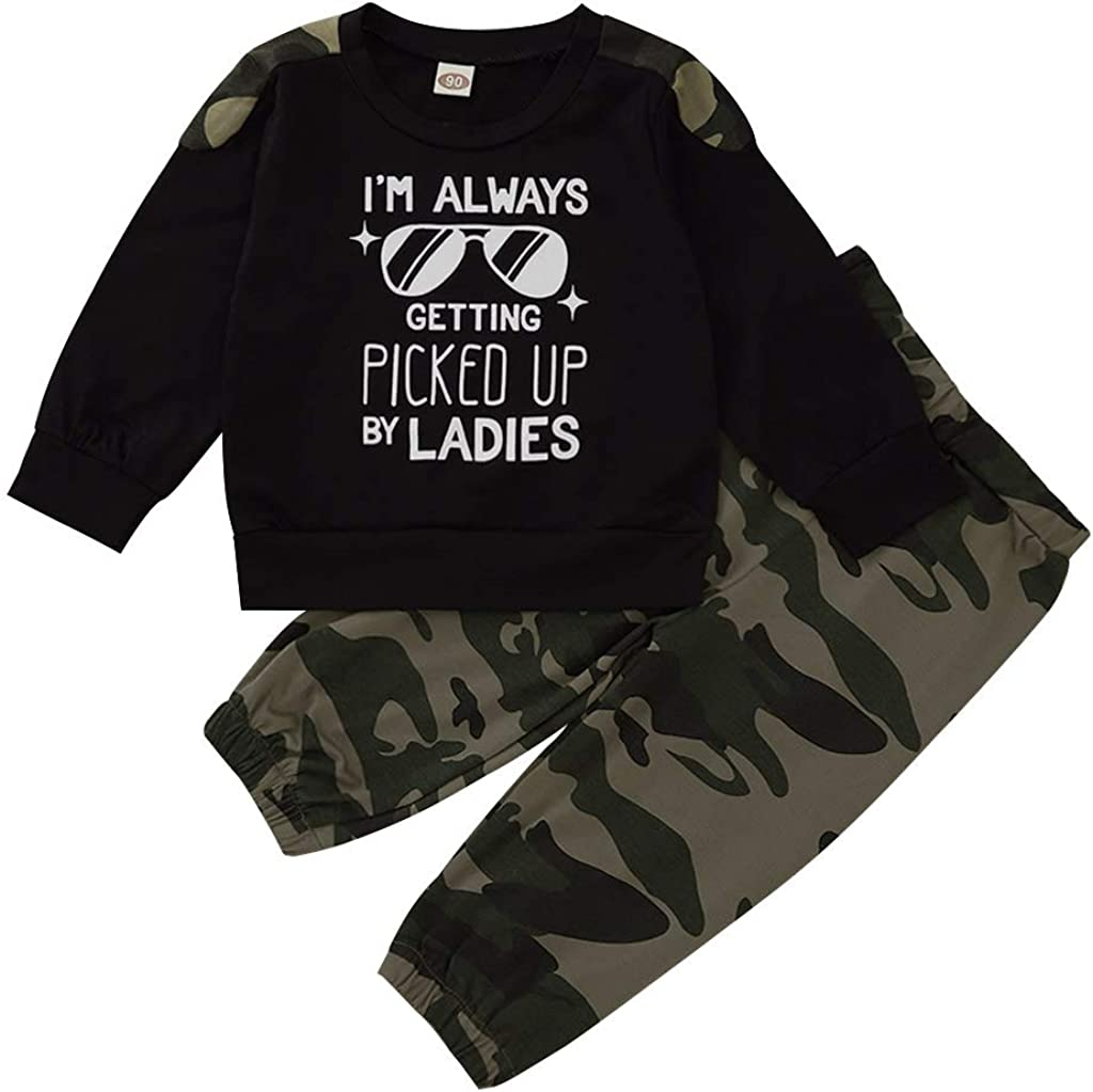 MagicPark Toddler Infant Baby Boy Camo Outfits Letter Print Long Sleeve Sweatshirt Tops+Camouflage Pants Clothes Set