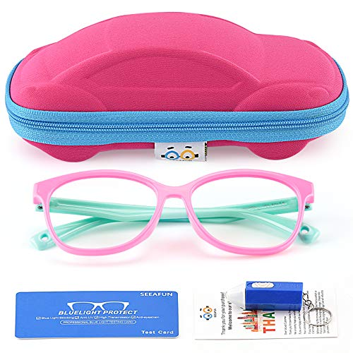 Kids Blue Light Glasses with Cute Car Case, UV400 Protection, Anti Blue Ray Computer Game Glasses