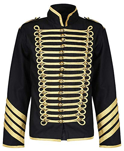 Ro Rox Gold Hussar Parade Steampunk Gothic Jacket - Black & Gold (Men's S)