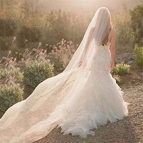 Velo de la boda de la catedral de un solo nivel elegante simple de tul bordado, Capilla Apliques Velos Accesorios for el cabello con el peine for las mujeres que se arrastra Lady 3 metros de largo 94