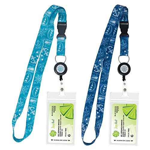 2-Pack Cruise Lanyard with Retractable Badge Reel, Water Resistant Badge Holder, and Snap Buckle, Teal and Blue Set