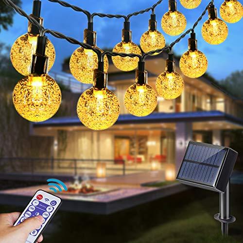 Solar Lichterkette Aussen,Aenamer 9.5M 50 LED Solar Beleuchtung Lichterketten Kristall Kugeln mit Fernbedienung| Warmweiß, 35-90 Stunden, 8 Modi Wasserdicht, Deko für Terrasse, Hochzeiten, Partys