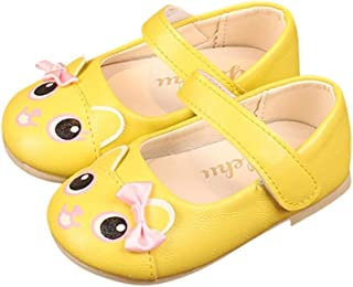 Sandals Kids, Lovely Children Girls Cartoon Bowknot Single Shoes Cute Princess Shoes Fashion Solid Casual Sandals Infant Kids Casual Shoes Three Colors (22, Pink) (Color : Yellow, Size : 21)