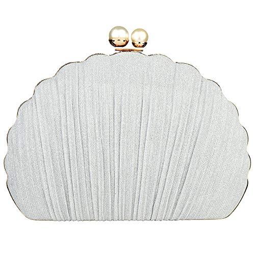 Clutch-Tasche in Muschelform, für Damen, modisch, für Hochzeit, Party, Handtasche, Silber - silber - Größe: Einheitsgröße