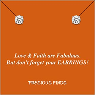 Solid 14k White Gold Cubic Zirconia Stud Earrings with Sassy Card – Choice Of Stone Size